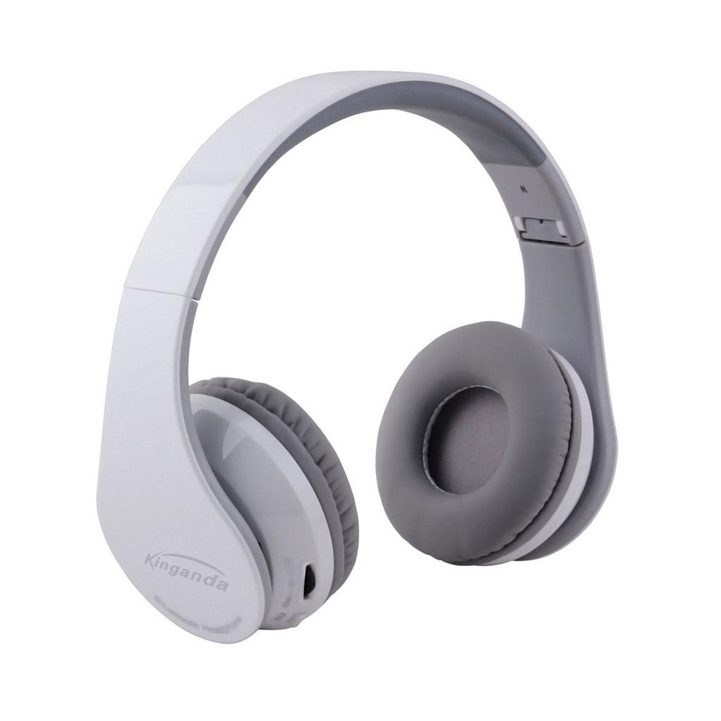 KINGANDA Taitettavat Bluetooth Kuulokkeet Mikrofonilla - Valkoinen