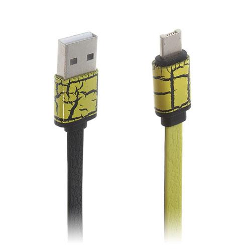 2-in-1 Micro USB Data Latauskaapeli iPhone Samsung Laitteille - Keltainen