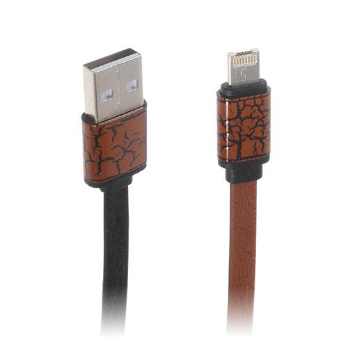 2-in-1 Micro USB Data Latauskaapeli iPhone Samsung Laitteille - Ruskea